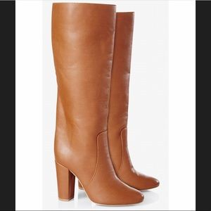 Express Faux Leather Stovepipe Heeled Boots